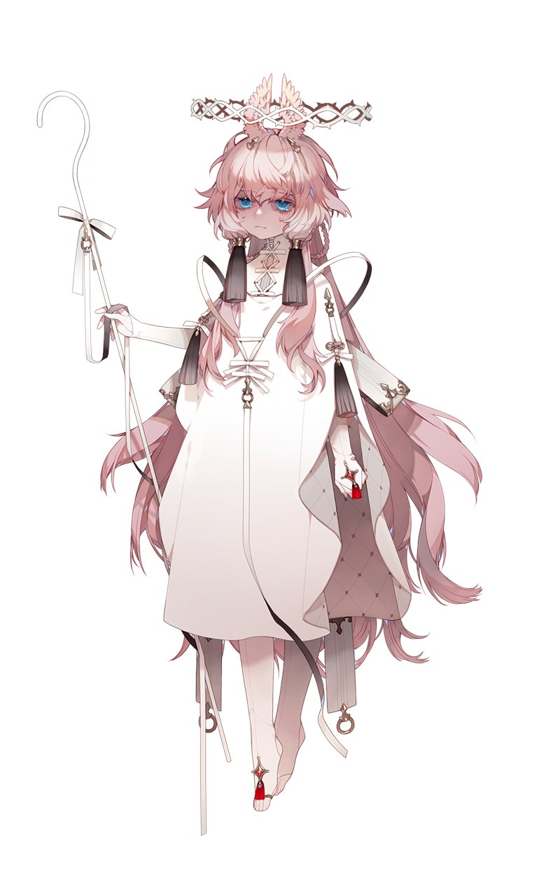 1girl aerobe10 animal_ears bangs blue_eyes bow braid crown_of_thorns crying crying_with_eyes_open dress floating hair_between_eyes halo highres long_hair original pink_hair ribbon solo staff tears white_background white_dress