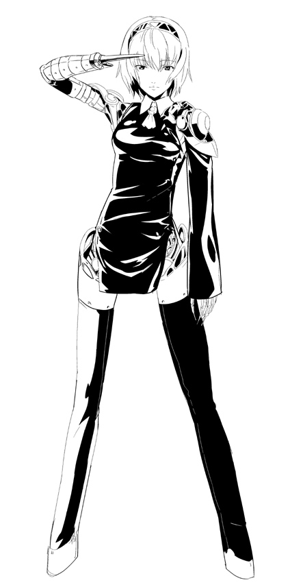 1girl aegis_(persona) android breasts closed_mouth graphite_(medium) looking_at_viewer makacoon monochrome persona persona_3 robot_joints salute seikan_hikou short_hair solo traditional_media