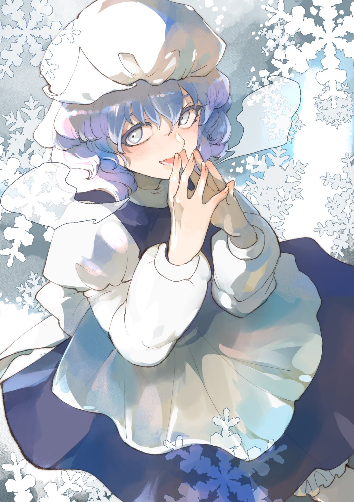 1girl bangs bloomers blue_dress blue_eyes blue_hair bow breath cold cowboy_shot curly_hair dress dutch_angle fingers_together hair_between_eyes hands_up hat highres joniko1110 juliet_sleeves letty_whiterock long_sleeves looking_to_the_side looking_up mob_cap open_mouth puffy_sleeves sash shirt short_hair snowflakes solo steepled_fingers teeth touhou triangular_headpiece turtleneck underwear white_bow white_headwear white_shirt winter_clothes