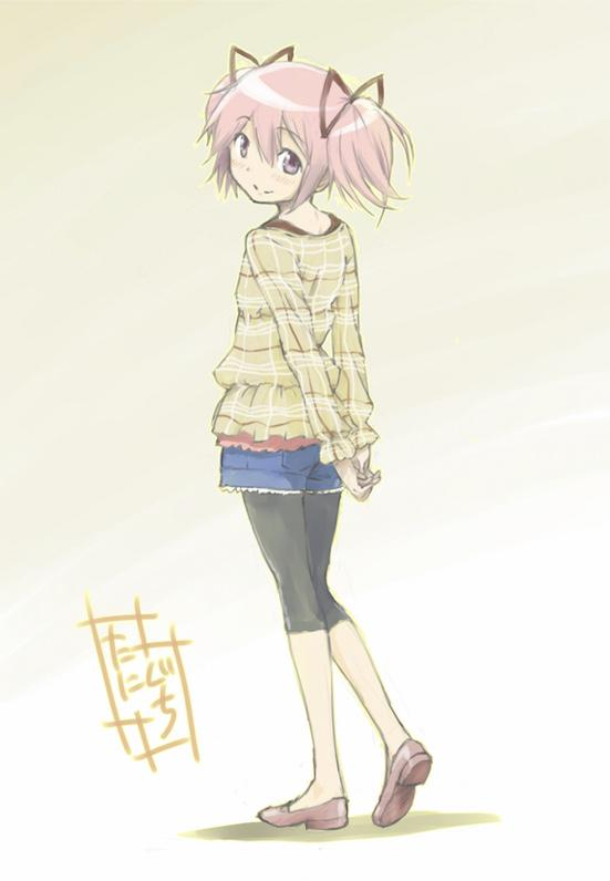 1girl alternate_costume arms_behind_back bare_legs beige_background black_legwear blush brown_footwear casual closed_mouth commentary_request denim denim_shorts dot_nose frilled_shirt frills full_body hair_between_eyes hair_ribbon happy kaname_madoka legwear_under_shorts loafers looking_at_viewer looking_back mahou_shoujo_madoka_magica nape own_hands_together pantyhose pink_eyes pink_hair plaid plaid_shirt red_ribbon ribbon shadow shiny shiny_hair shirt shoes short_twintails shorts sidelocks signature simple_background smile solo standing standing_on_one_leg taniguchi_jun'ichirou twintails yellow_shirt