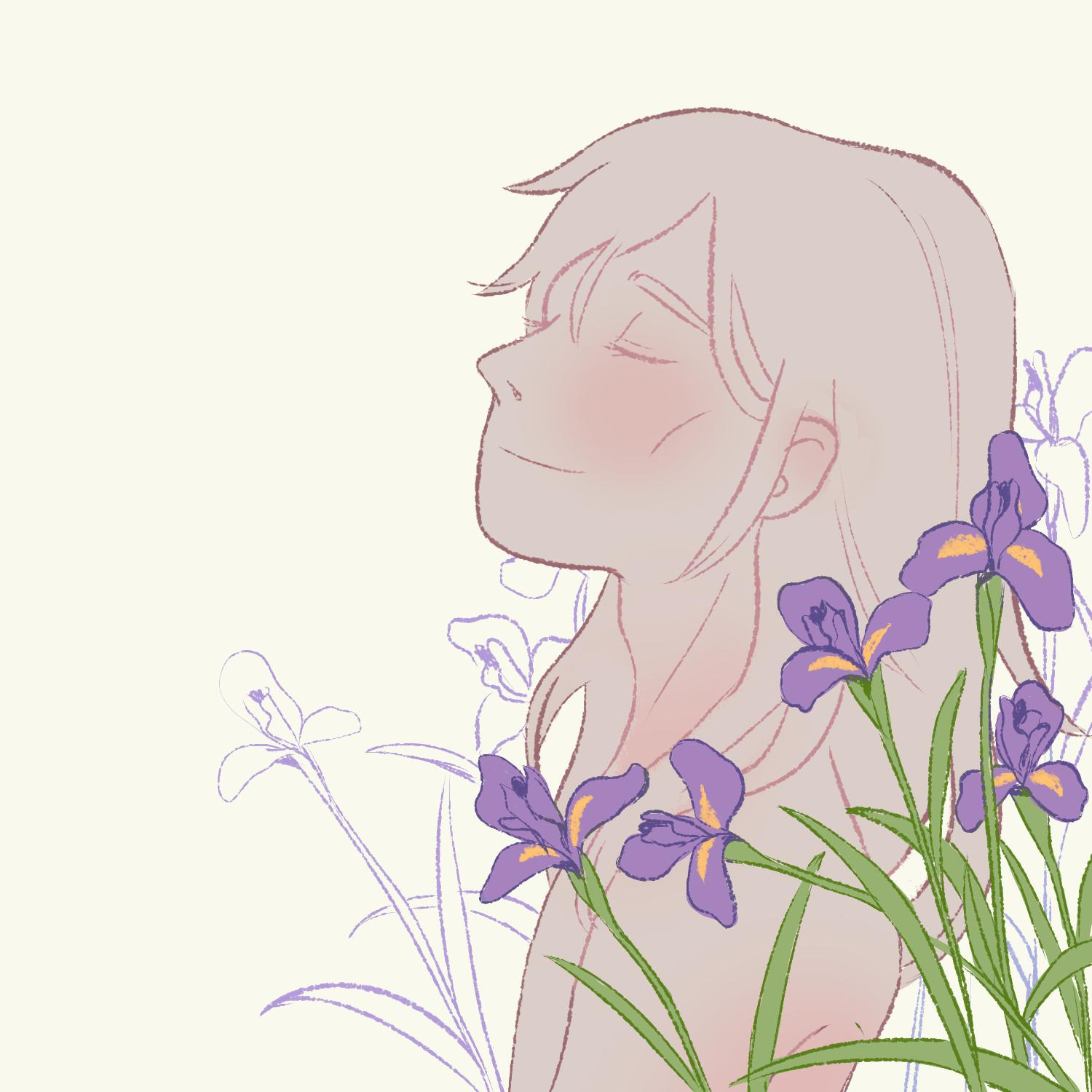 1boy alphonse_elric androgynous arms_at_sides blush cheekbones closed_mouth commentary ear_blush english_commentary eyelashes flower from_side fullmetal_alchemist green_theme grey_background hair_between_eyes happy head_back highres idledee iris_(flower) leaf light_smile lineart long_hair male_focus nude profile purple_flower purple_theme simple_background skinny spot_color upper_body