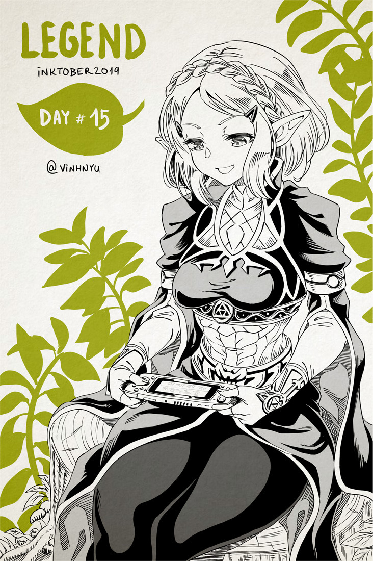 1girl black_legwear braid chair english_text feet_out_of_frame fingerless_gloves french_braid gloves hair_ornament hairclip leaf long_sleeves nintendo_switch open_mouth plant playing pointy_ears princess_zelda short_hair sitting smile solo the_legend_of_zelda the_legend_of_zelda:_breath_of_the_wild the_legend_of_zelda:_breath_of_the_wild_2 triforce video_game vinhnyu