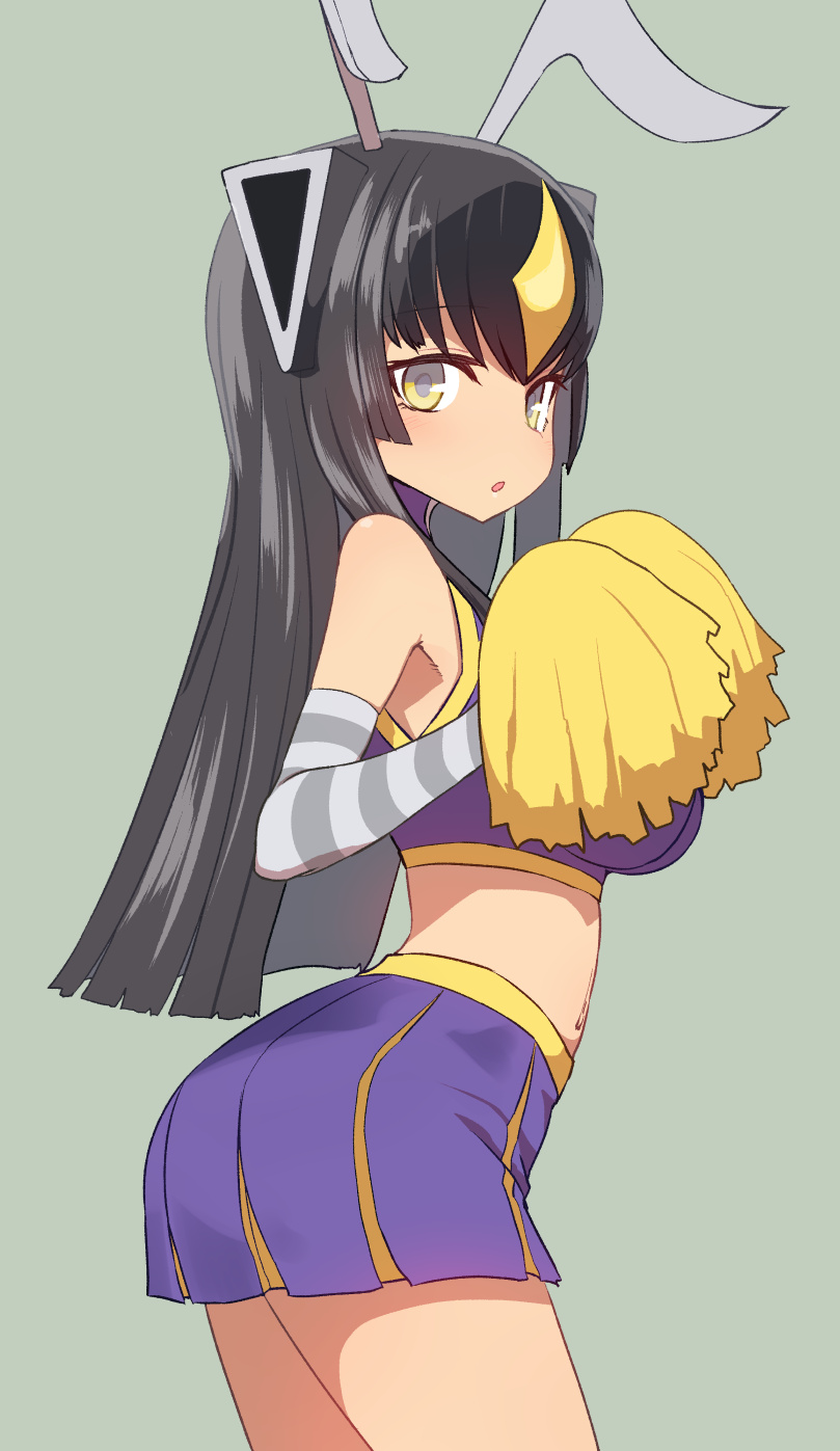 1girl :o antennae ass bangs bare_shoulders black_hair blush breasts cheerleader contrapposto elbow_gloves eyebrows_visible_through_hair from_behind gloves grey_background headgear highres large_breasts long_hair looking_at_viewer looking_back no_nose parted_lips pom_poms purple_skirt simple_background skirt solo standing striped striped_gloves sumiyao_(amam) ultra_kaijuu_gijinka_keikaku ultra_series yellow_eyes zetton