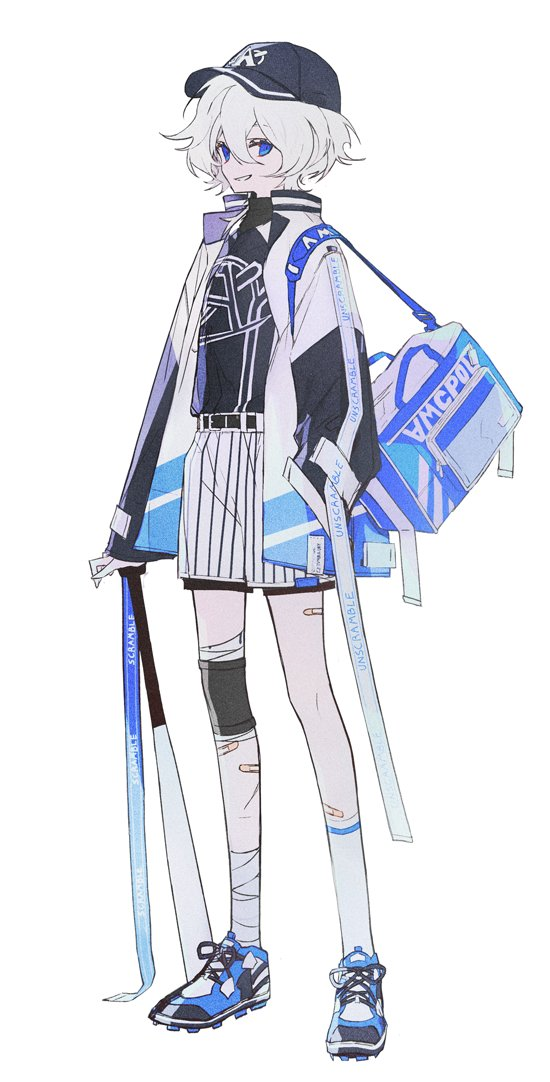 1other androgynous bag bandaged_leg bandages bandaid bandaid_on_leg baseball_bat baseball_cap baseball_uniform belt black_belt black_headwear black_shirt blue_bag blue_eyes blue_footwear full_body grey_hair hair_between_eyes hat high-waist_shorts jacket long_sleeves mo_(mocopo) open_clothes open_jacket original shirt shoes short_hair short_shorts shorts shoulder_bag simple_background single_knee_pad single_sock smile sneakers socks sportswear standing white_background wide_sleeves