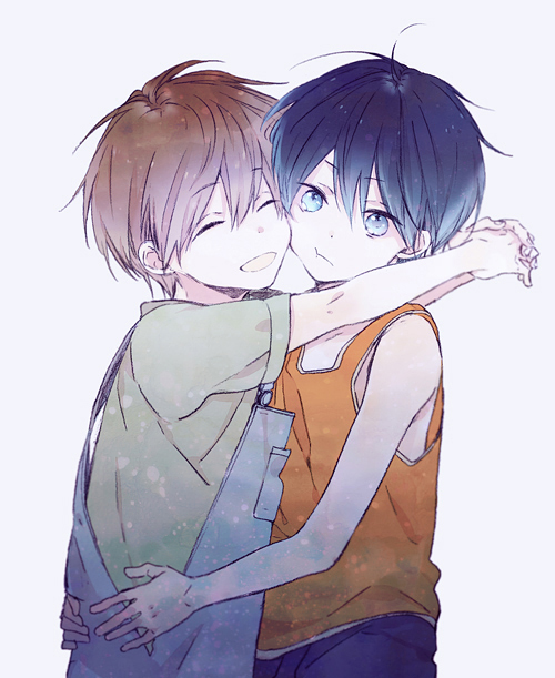 2boys :t ^_^ ^o^ ahoge arms_around_back arms_around_neck arms_around_waist arms_up bangs bare_arms bare_shoulders blue_eyes blue_hair blue_overalls blurry brown_hair cheek-to-cheek child closed_eyes closed_mouth dark_blue_hair depth_of_field dot_nose eyebrows_visible_through_hair eyes_visible_through_hair facing_viewer free! green_shirt hair_between_eyes hands_on_another's_back happy harukaze_(jonathan) head_tilt hug light_particles looking_at_viewer male_focus multiple_boys muted_color nanase_haruka_(free!) open_mouth orange_tank_top overalls own_hands_together shirt short_sleeves simple_background sleeveless smile tachibana_makoto tank_top tsurime upper_body younger |d