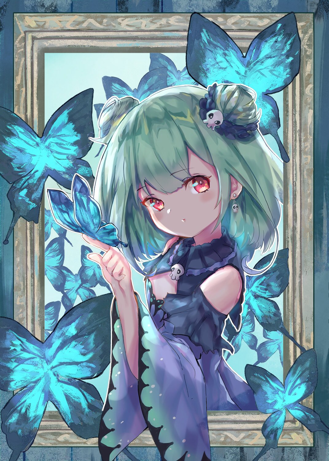 1girl bug butterfly detached_sleeves double_bun earrings eyebrows_visible_through_hair frame gradient_hair green_hair hair_ornament highres hololive insect jewelry multicolored_hair red_eyes shin_murasame skull_earrings skull_hair_ornament solo upper_body uruha_rushia virtual_youtuber