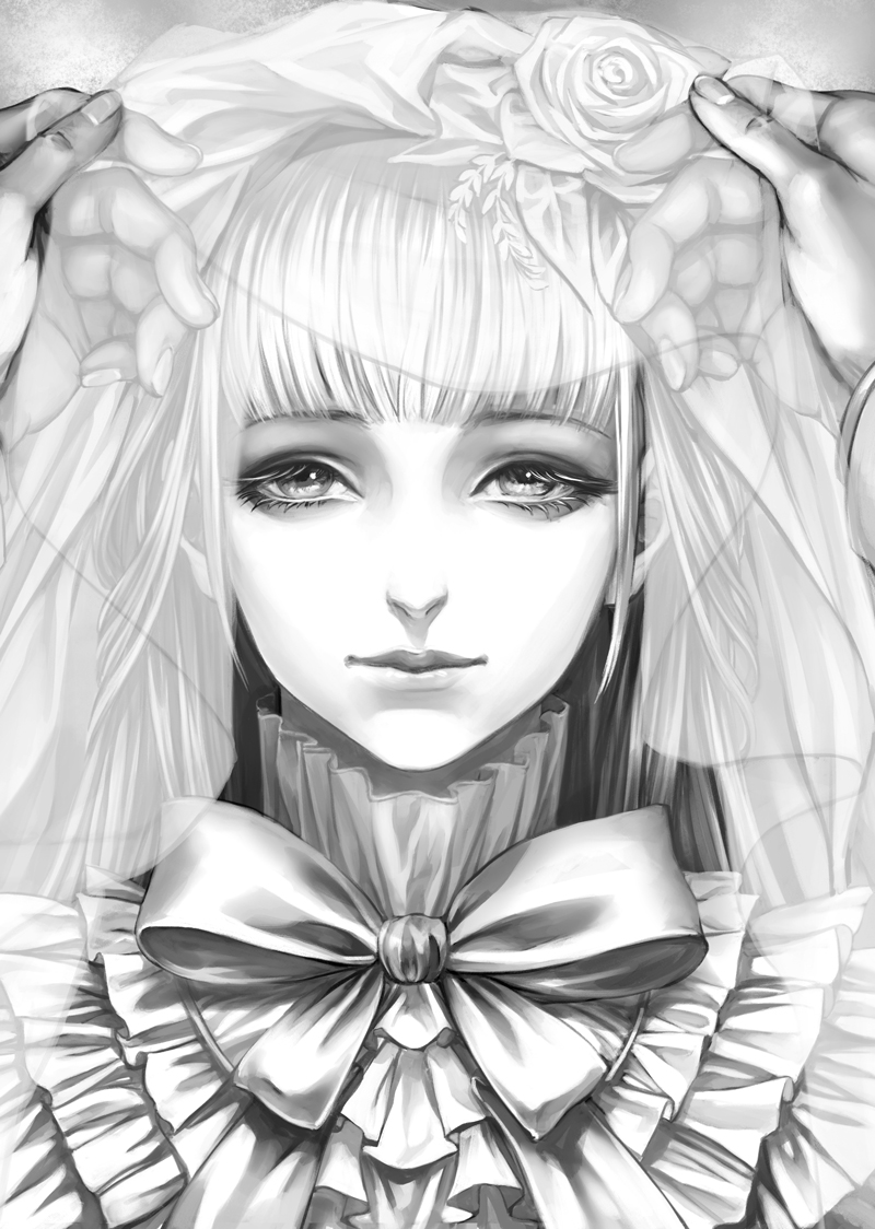 1girl bangs blunt_bangs bow fata_morgana_no_yakata flower frills hair_flower hair_ornament high_collar long_hair looking_at_viewer monochrome moyatarou official_art out_of_frame rose rose_hair_ornament solo straight_hair the_white-haired_girl veil