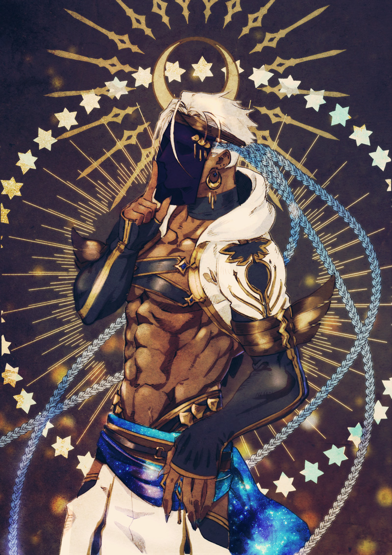 1boy abs cygnus_186 dark_skin dark_skinned_male earrings hand_up index_finger_raised jewelry male_focus mask melchor_of_the_singing_sand pixiv_fantasia pixiv_fantasia_age_of_starlight simple_background solo standing white_hair