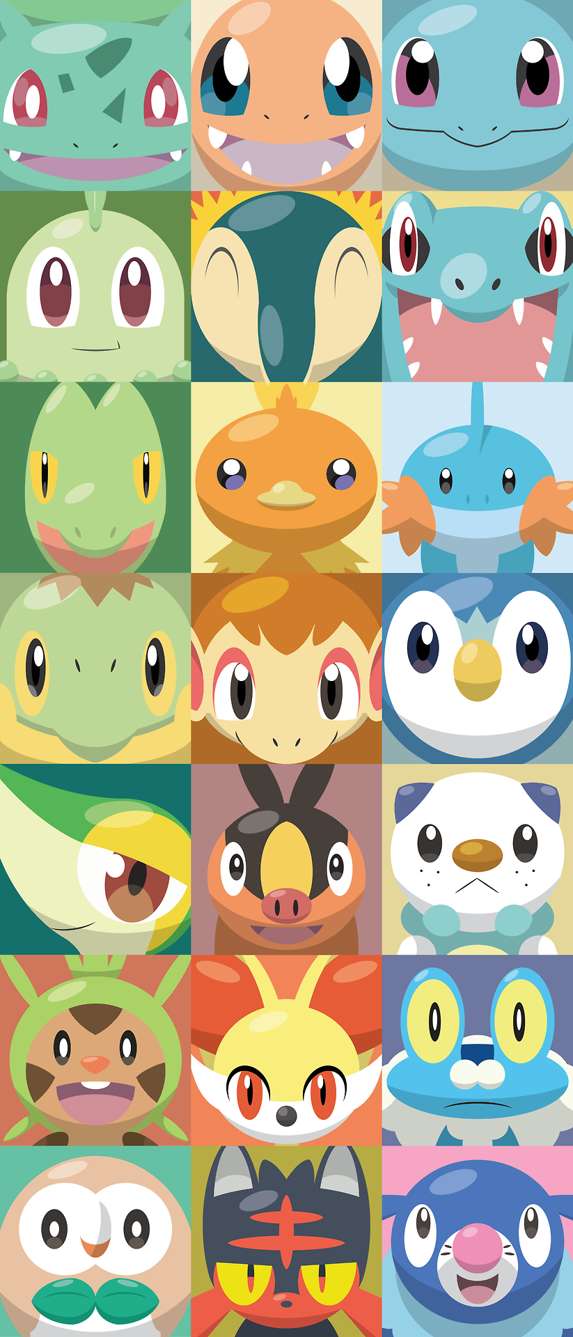 :d ^_^ bird black_eyes brown_eyes bulbasaur cat charmander chespin chikorita chimchar closed_eyes commentary creature cyndaquil english_commentary face facing_viewer fangs fennekin froakie gen_1_pokemon gen_2_pokemon gen_3_pokemon gen_4_pokemon gen_5_pokemon gen_6_pokemon gen_7_pokemon highres litten looking_at_viewer monkey mudkip no_humans open_mouth oshawott piplup pokemon pokemon_(creature) popplio red_eyes rowlet shawn_flowers smile snivy squirtle tepig torchic totodile treecko turtwig yellow_eyes