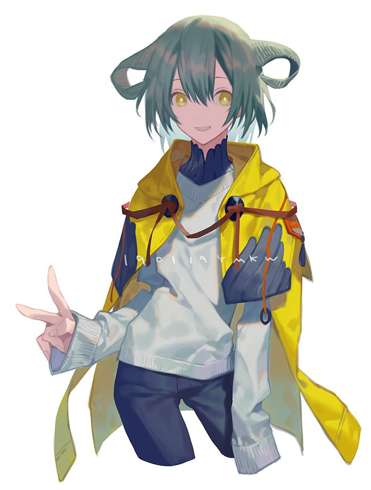1other androgynous black_pants bright_pupils contrapposto cowboy_shot cropped_legs curled_horns dot_nose fingernails green_hair grin hand_up horns long_sleeves looking_at_viewer original pants sharp_teeth short_hair simple_background smile solo sweater teeth v white_background white_sweater yamakawa yellow_eyes