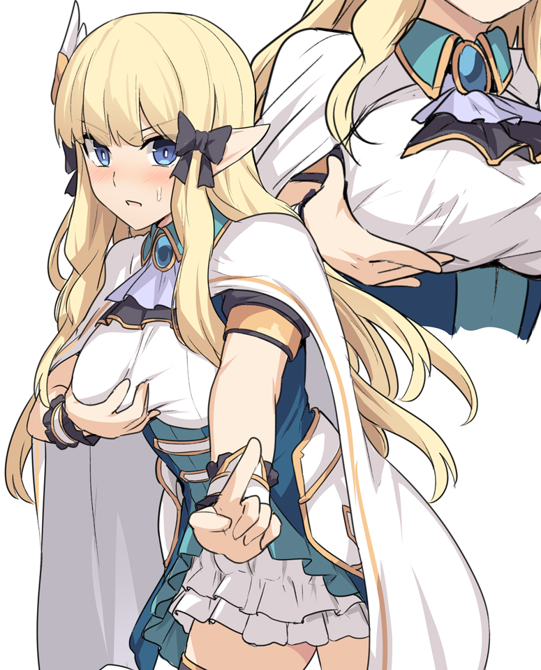 1girl ascot bangs black_bow black_dress blonde_hair blue_eyes blush bow breast_hold breasts brooch cape dress elf faulds hair_bow hair_ornament index_finger_raised jewelry large_breasts long_hair looking_at_viewer multiple_views open_mouth outstretched_arm pointy_ears princess_connect! princess_connect!_re:dive sasaki_saren shiseki_hirame sidelocks simple_background skirt underbust white_background white_cape white_skirt wrist_cuffs