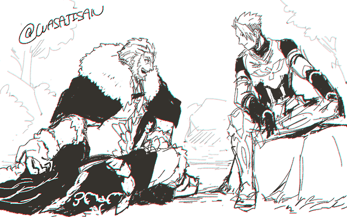 2boys achilles_(fate) armor beard boots breastplate cape crossed_legs facial_hair fate/apocrypha fate/zero fate_(series) fur_collar greyscale leather male_focus monochrome multiple_boys open_mouth rider_(fate/zero) sitting sketch skirt smile teeth wasaji