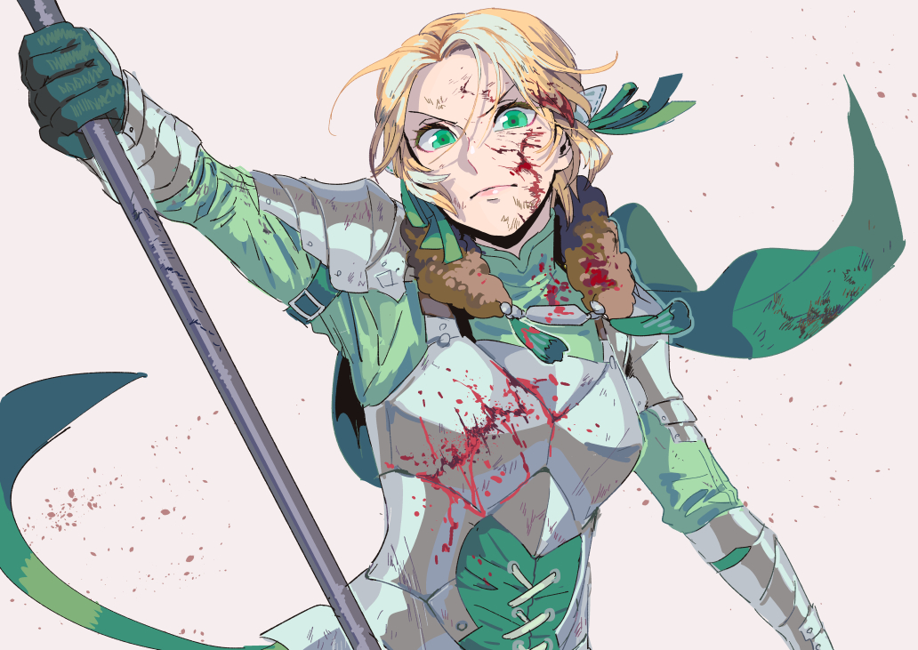 1girl armor blonde_hair blood blood_on_face closed_mouth fire_emblem fire_emblem:_three_houses gloves green_eyes green_gloves holding ingrid_brandl_galatea polearm prrrr333 short_hair simple_background solo upper_body weapon
