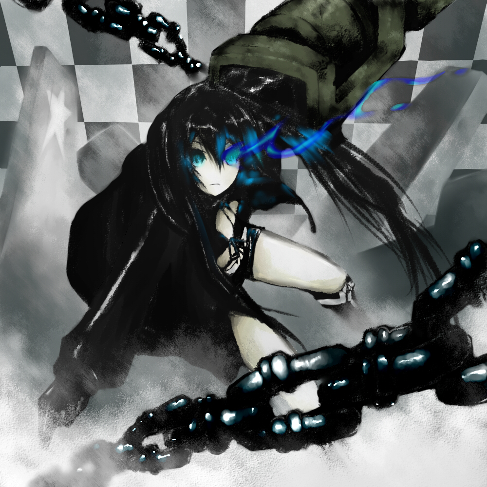 black_hair black_rock_shooter black_rock_shooter_(character) blue_eyes chain chains hatsune_miku maron solo vocaloid weapon