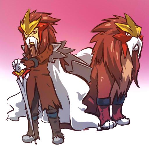 1boy brown_hair costume entei facial_hair hitec moemon moustache mustache personification pokemon pokemon_(creature) pokemon_(game) pokemon_gsc sword weapon