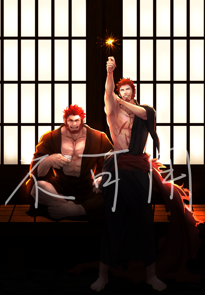 2boys abs bara beard blue_eyes brown_hair chest cup facial_hair fate/grand_order fate_(series) japanese_clothes long_sleeves male_focus multiple_boys muscle napoleon_bonaparte_(fate/grand_order) new_year open_clothes pectorals q307011598 redhead rider_(fate/zero) scar simple_background smile