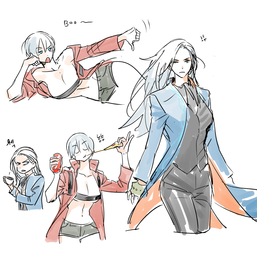 2girls anger_vein bare_shoulders blue_coat blue_eyes blush can closed_eyes closed_mouth coat coffee cup dante_(devil_may_cry) devil_may_cry devil_may_cry_3 eating fingerless_gloves food frown genderswap genderswap_(mtf) gloves green_gloves hair_between_eyes holding holding_can holding_cup holding_food holding_pizza long_hair mlxgdog multiple_girls navel open_eyes open_mouth pizza red_coat short_hair short_shorts shorts simple_background sketch soda_can teeth thumbs_down upper_teeth vergil white_background white_hair