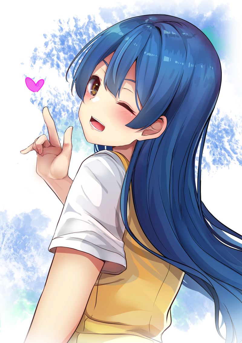 1girl ;d ascii_media_works bangs blue_hair blush brown_eyes bushiroad commentary_request eyebrows_behind_hair hand_up heart index_finger_raised long_hair looking_at_viewer looking_to_the_side love_live! love_live!_school_idol_project minato_yu one_eye_closed open_mouth shirt short_hair sidelocks smile solo sonoda_umi sunrise_(studio) sweater_vest upper_body v-shaped_eyebrows very_long_hair white_shirt
