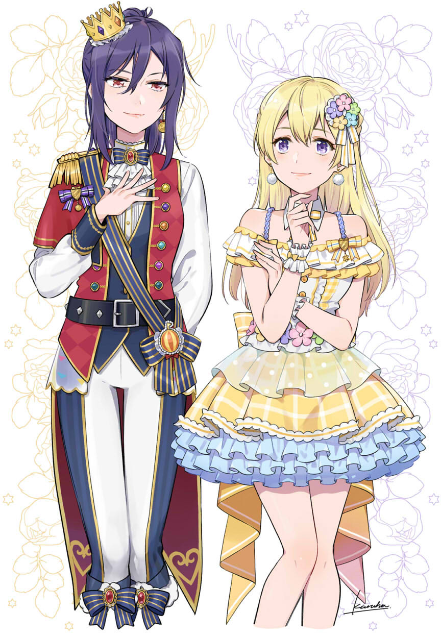 2girls ascot asymmetrical_clothes back_bow bang_dream! bangs bare_legs belt black_belt blonde_hair blue_pants blue_vest blush bow brooch center_frills closed_mouth coattails commentary_request costume cowboy_shot cropped_legs crown detached_collar dress earrings emblem epaulettes eyebrows_visible_through_hair floral_background flower hair_between_eyes hair_ornament half_updo hand_on_own_chest hand_up highres jewelry karuha long_hair long_sleeves looking_at_another mini_crown multiple_girls off-shoulder_dress off_shoulder pants pom_pom_earrings ponytail purple_hair red_eyes red_vest rose sash scrunchie seta_kaoru shirasagi_chisato shirt sidelocks signature single_earring smile standing striped striped_bow striped_sash tilted_headwear two-tone_dress vest violet_eyes white_background white_neckwear white_pants white_shirt wrist_scrunchie yellow_bow yellow_dress