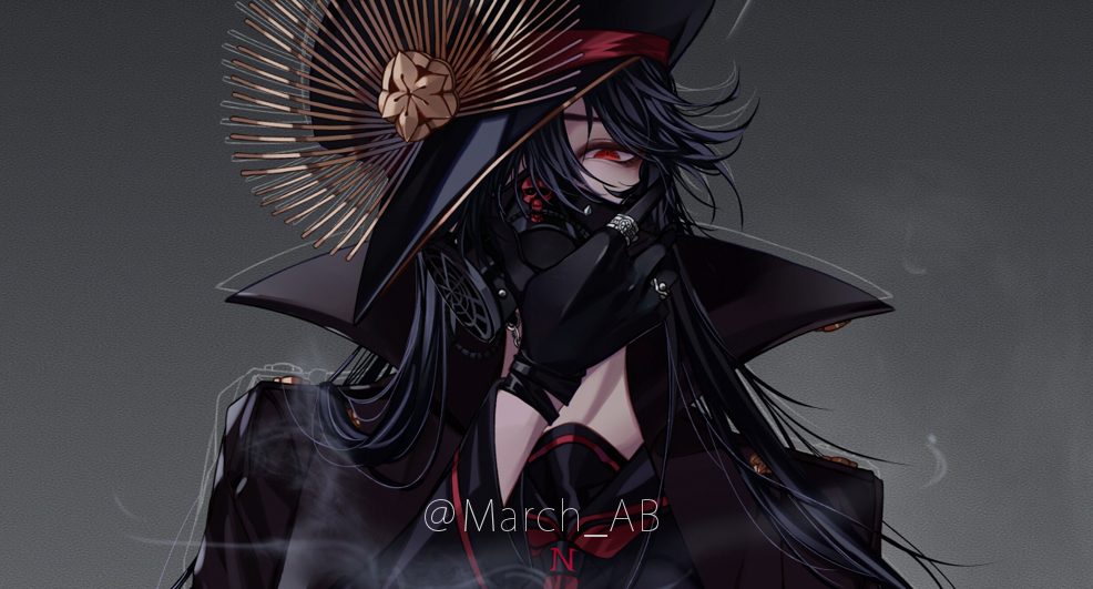 1girl black_gloves black_hair close-up coat epaulettes fate/grand_order fate_(series) gas_mask gloves hair_over_one_eye hat high_collar holding holding_mask jewelry long_hair marchab_66 mask military military_hat military_uniform neckerchief oda_nobunaga_(fate) oda_nobunaga_(fate)_(all) oda_uri peaked_cap red_eyes ring sailor_collar skull solo twitter_username uniform