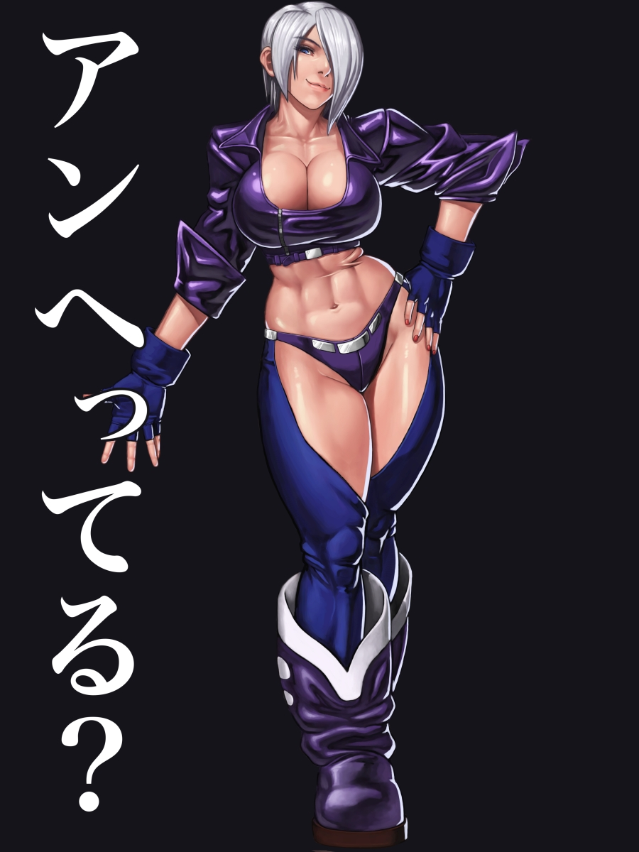 1girl abs angel_(kof) breasts chaps cropped_jacket fingerless_gloves gloves highres large_breasts midriff navel one_eye_covered ryotatsuryu short_hair the_king_of_fighters white_hair