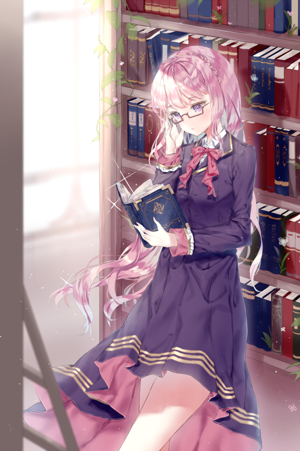 1girl adjusting_eyewear bangs blue_dress blurry blurry_background blush book bookshelf bow braid brown-framed_eyewear closed_mouth collared_shirt commentary commission depth_of_field dress eyebrows_visible_through_hair glasses holding holding_book indoors ladder long_hair long_sleeves looking_at_object looking_away open_book original pleated_dress qlakwnd reading red_bow semi-rimless_eyewear shirt solo under-rim_eyewear very_long_hair violet_eyes white_shirt