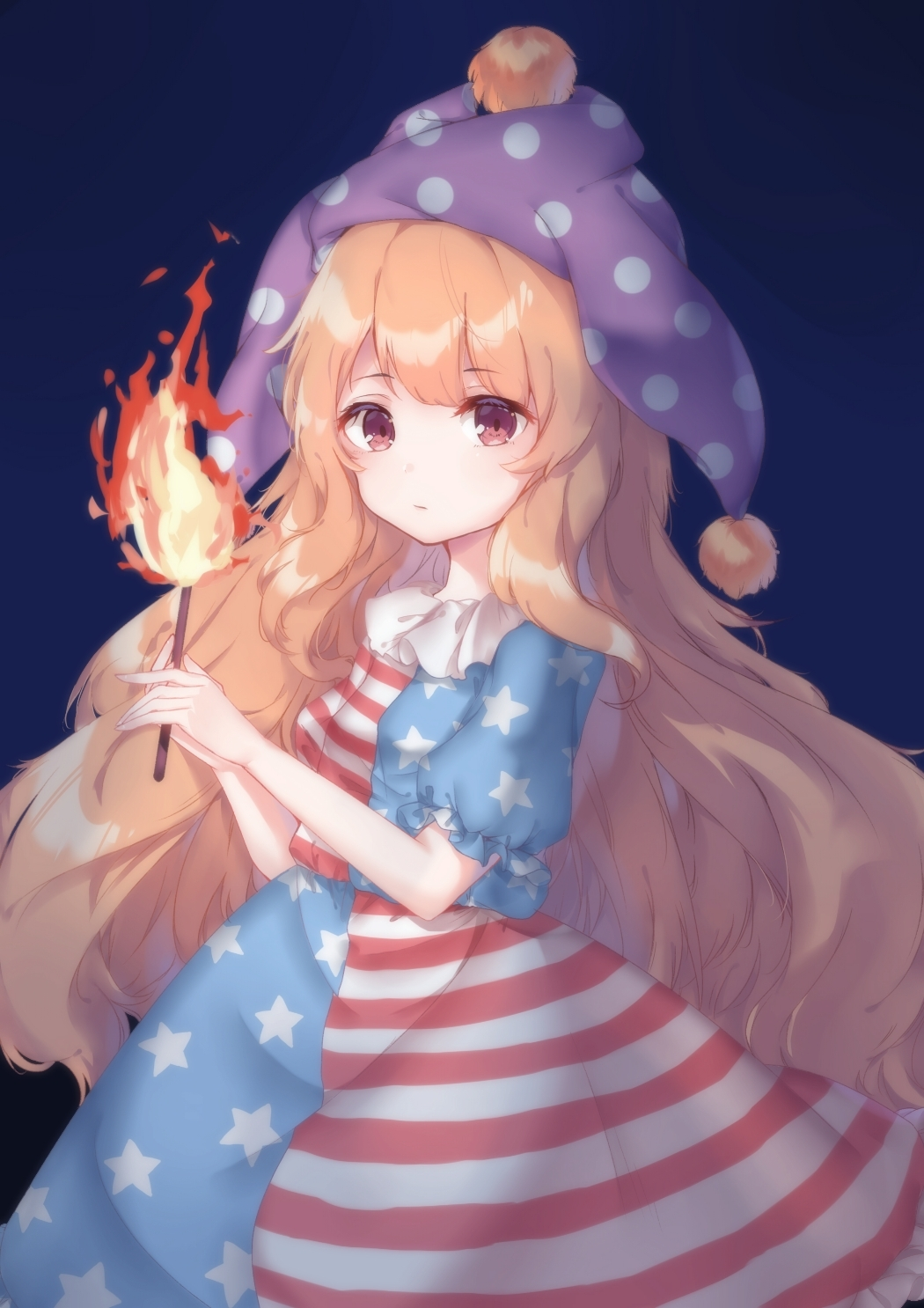 1girl adapted_costume american_flag_shirt american_flag_skirt arms_up black_background blonde_hair clownpiece commentary cowboy_shot expressionless fire from_side hat highres holding_torch jester_cap long_hair looking_at_viewer polka_dot_hat puffy_short_sleeves puffy_sleeves purple_headwear red_eyes short_sleeves simple_background solo standing torch touhou very_long_hair zhi_xixi