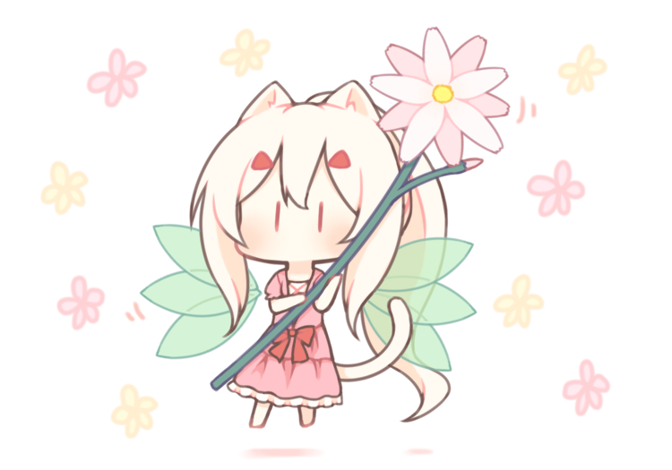 1girl animal_ear_fluff animal_ears ayanami_(azur_lane) azur_lane bangs blush bow cat_ears cat_girl cat_tail chibi dress fairy_wings floral_background flower frilled_dress frills green_wings hair_between_eyes hair_ornament hairclip holding holding_flower kemonomimi_mode long_hair looking_at_viewer minigirl pink_dress pink_flower ponytail puffy_short_sleeves puffy_sleeves red_bow sakurato_ototo_shizuku short_sleeves sidelocks solo tail transparent_wings very_long_hair white_background white_hair wings  _ 