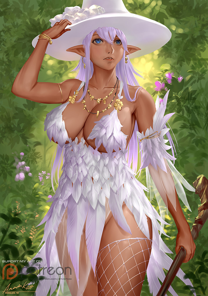 1girl ariverkao asymmetrical_clothes bangs blue_eyes bracelet breasts dark_skin dated detached_sleeves earrings facing_viewer feather_dress forest hat holding holding_staff jewelry large_breasts lavender_hair long_hair nature necklace original outdoors patreon_logo pointy_ears signature single_thighhigh solo staff thigh-highs