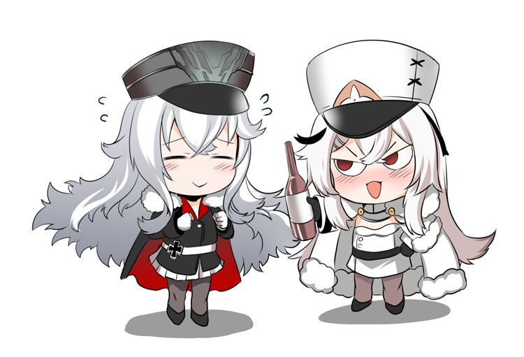 2girls alcohol azur_lane bangs cape chibi closed_eyes coat coat_dress crossed_bangs fur-trimmed_cape fur-trimmed_coat fur_trim gangut_(azur_lane) gloves graf_zeppelin_(azur_lane) hat iron_cross military_hat multiple_girls partly_fingerless_gloves peaked_cap red_eyes smile steed_(steed_enterprise) vodka white_coat white_hair white_uniform