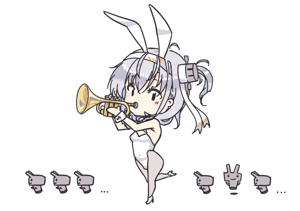 1girl animal_ears bangs blush breasts bunny_girl bunnysuit chibi clothes_writing eyebrows_visible_through_hair hachimaki headband high_heels instrument kantai_collection leotard long_hair looking_at_viewer music nakadori_(movgnsk) one_side_up pantyhose playing_instrument rabbit_ears silver_hair simple_background strapless strapless_leotard suzutsuki_(kantai_collection) trumpet white_background