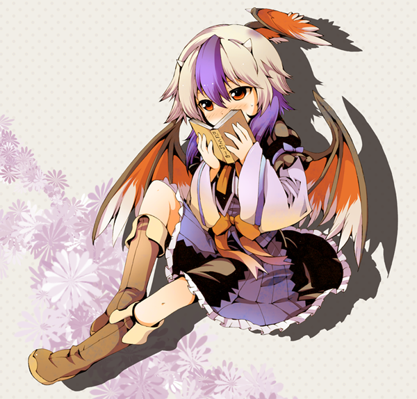 1girl blue_skirt blush book boots brown_footwear covered_mouth drop_shadow floral_background full_body grey_background head_wings holding holding_book horns ichizen_(o_tori) long_hair long_sleeves multicolored_hair purple_hair rading red_eyes shirt silver_hair single_head_wing sitting skirt solo sweatdrop tokiko_(touhou) touhou two-tone_hair white_shirt wide_sleeves wings
