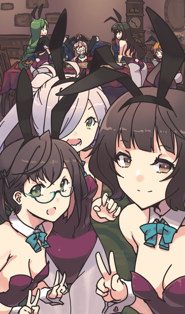 6+girls akigumo_(kantai_collection) alternate_costume animal_ears asashimo_(kantai_collection) ass bangs black_hair blush bow bowtie breasts brown_hair bunny_girl bunny_tail bunnysuit clock detached_collar double_v eyebrows_visible_through_hair fake_animal_ears fake_tail food glasses green_eyes green_hair indoors kantai_collection kishinami_(kantai_collection) leotard long_hair long_sleeves looking_at_viewer makigumo_(kantai_collection) multiple_girls naganami_(kantai_collection) nakadori_(movgnsk) okinami_(kantai_collection) open_mouth pantyhose pink_hair rabbit_ears short_hair silver_hair small_breasts smile strapless strapless_leotard tail v wrist_cuffs yuugumo_(kantai_collection)