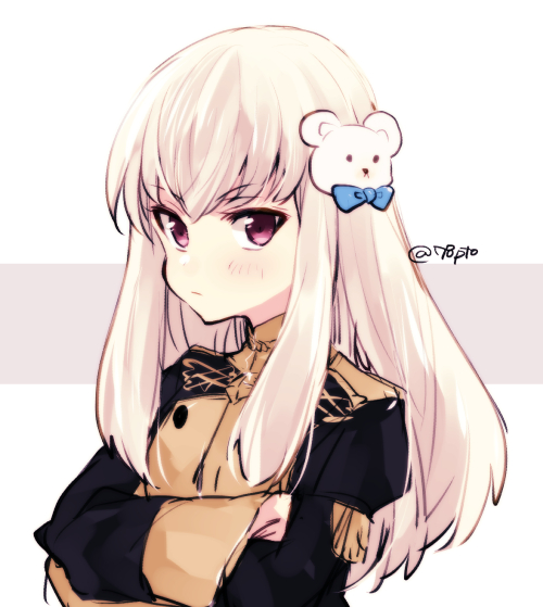 1girl closed_mouth crossed_arms fire_emblem fire_emblem:_three_houses fire_emblem_heroes garreg_mach_monastery_uniform hair_ornament long_hair long_sleeves lysithea_von_ordelia naho_(pi988y) pink_eyes simple_background solo twitter_username uniform upper_body white_hair