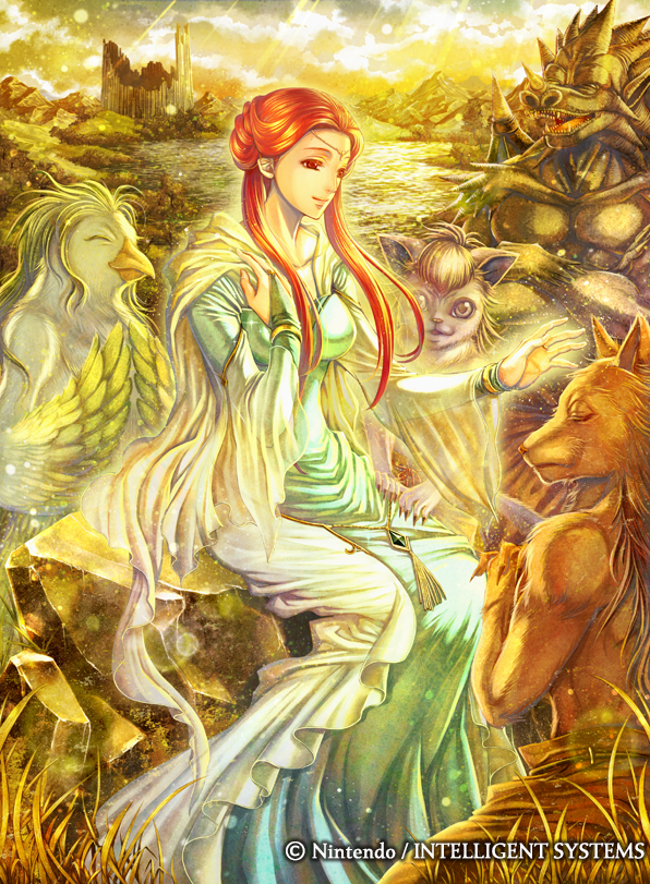 1girl animal_ears ashunera_(fire_emblem) cat_ears circlet closed_eyes clouds dress fangs feathered_wings feathers fire_emblem fire_emblem:_radiant_dawn fire_emblem_cipher furry grass long_hair official_art open_mouth orange_hair red_eyes sitting sky solo sparkle takaya_tomohide water wings