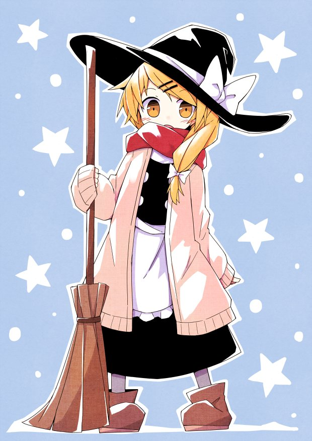 1girl apron asameshi black_headwear black_skirt black_vest blonde_hair blue_background blush bow broom brown_footwear commentary full_body hair_bow hat hat_bow holding holding_broom kirisame_marisa long_hair long_sleeves looking_at_viewer open_mouth pink_sweater red_scarf scarf skirt sleeves_past_wrists solo star sweater touhou vest waist_apron white_bow witch_hat yellow_eyes