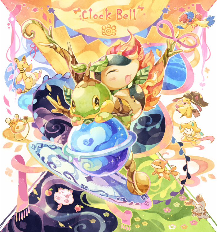 ^_^ ampharos archen bird brown_eyes bunnelby chaloc7 closed_eyes commentary creature cyndaquil dedenne english_text flower flying gen_2_pokemon gen_3_pokemon gen_4_pokemon gen_5_pokemon gen_6_pokemon grass happy jirachi looking_at_viewer mawile no_humans pokemon pokemon_(creature) purple_scarf rabbit scarf swirlix symbol_commentary turtwig
