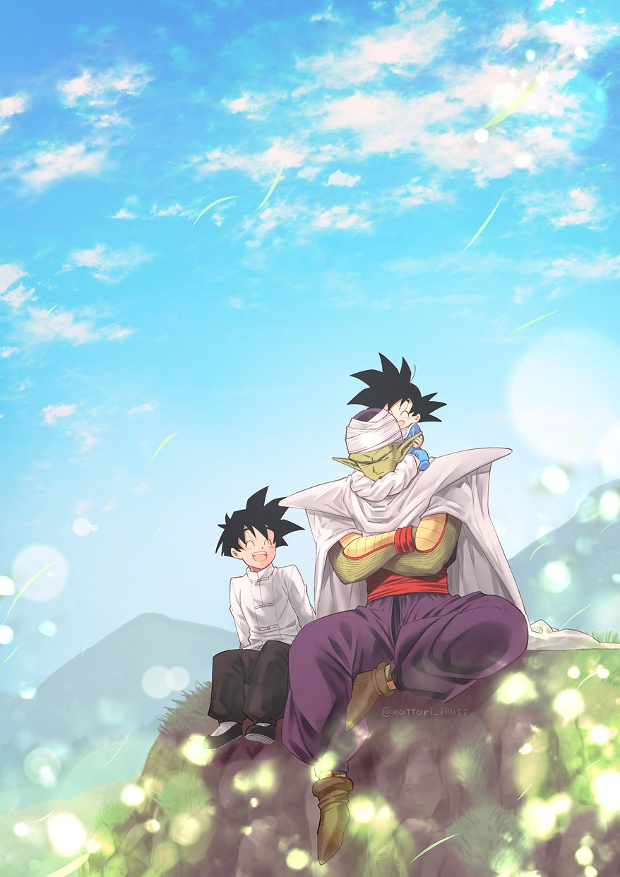 3boys ^_^ arm_support baby black_footwear black_hair black_pants blue_sky blurry bokeh brothers cape carrying chinese_clothes closed_eyes closed_mouth clouds cloudy_sky commentary_request crossed_arms day depth_of_field dot_nose dragon_ball dragon_ball_z forest frown full_body grass happy high_collar highres horizon laughing male_focus mattari_illust mountain mountainous_horizon multiple_boys nature nervous open_mouth outdoors pants piccolo pointy_ears purple_pants rock serious shirt shoulder_carry siblings sitting sitting_on_rock sky smile son_gohan son_goten spiky_hair sweatdrop turban twitter_username white_shirt wind wind_lift wristband