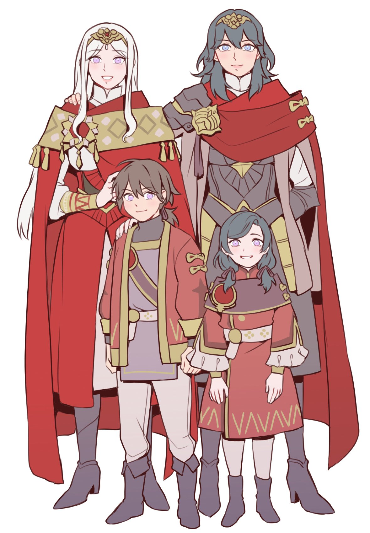 1boy 3girls arm_around_shoulder arm_behind_back blue_eyes boots byleth_(fire_emblem) byleth_(fire_emblem)_(female) cape edelgard_von_hresvelg eyebrows_visible_through_hair family fire_emblem fire_emblem:_three_houses formal green_hair highres ips_cells mother_and_daughter mother_and_son multiple_girls radiostarkiller red_cape silver_hair simple_background smile standing tiara violet_eyes white_background wife_and_wife yuri