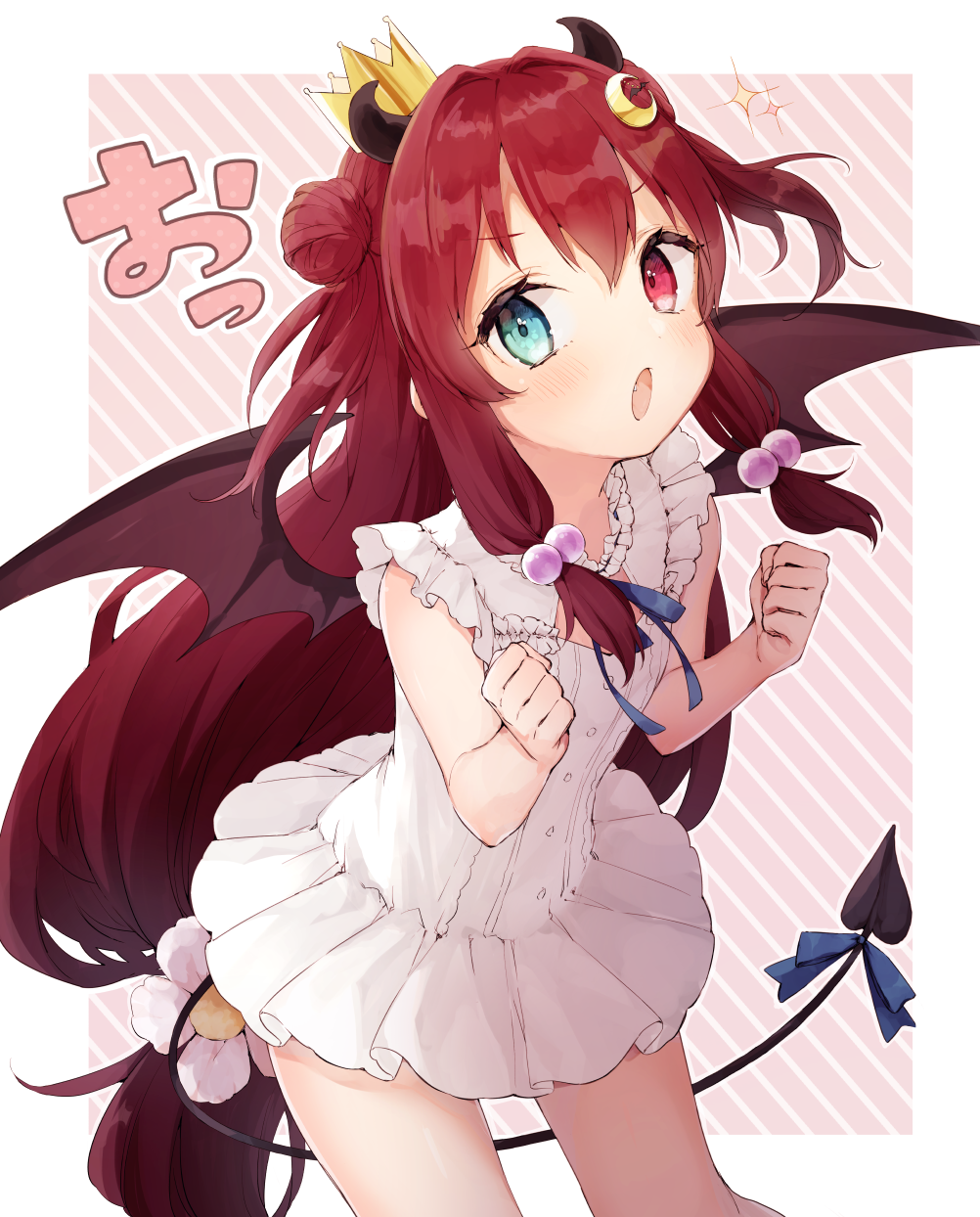 1girl blue_bow blue_ribbon blush bow brown_wings clenched_hands commentary_request crescent crescent_hair_ornament demon_girl demon_horns demon_tail demon_wings diagonal_stripes double_bun dress fang flower frilled_dress frills hair_bobbles hair_flower hair_ornament hands_up highres honotai horns long_hair nijisanji open_mouth pink_background red_eyes redhead ribbon sidelocks sleeveless sleeveless_dress solo striped striped_background tail tail_bow two-tone_background two_side_up very_long_hair virtual_youtuber white_background white_dress white_flower wings yuzuki_roa