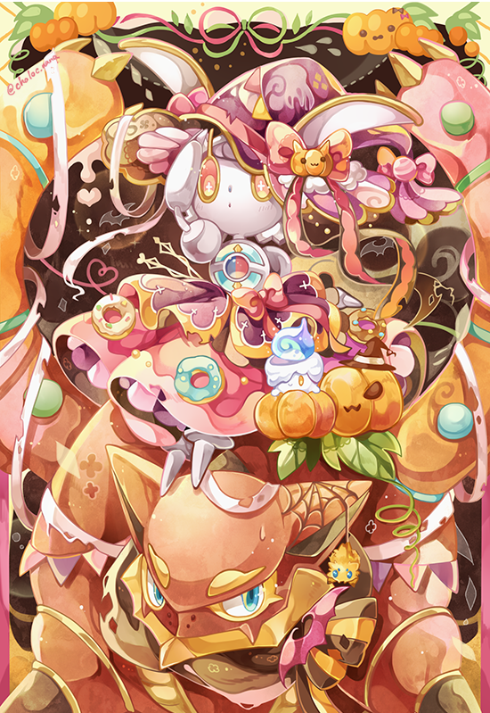 blue_eyes chaloc7 clothed_pokemon commentary creature doughnut english_commentary food gen_7_pokemon halloween looking_at_viewer magearna no_humans pink_eyes pokemon pokemon_(creature) pumpkin signature volcanion