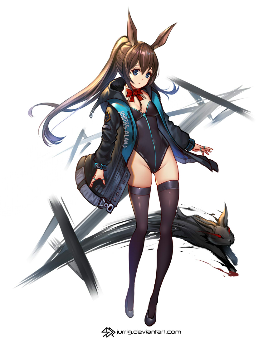 1girl amiya_(arknights) animal_ears arknights artist_name ass_visible_through_thighs bangs black_coat black_footwear black_legwear black_leotard blue_eyes bow bowtie breasts brown_hair bunny_girl bunnysuit closed_mouth clothes_writing coat creature detached_collar groin highleg highleg_leotard hood hood_down hooded_coat jewelry jurrig leotard long_hair long_sleeves open_clothes open_coat ponytail rabbit rabbit_ears red_bow red_neckwear ring sidelocks small_breasts solo strapless strapless_leotard thigh-highs thumb_ring watermark web_address
