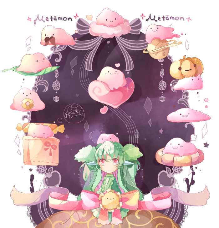 ._. 1girl chaloc7 character_name closed_mouth creature ditto gen_1_pokemon gen_5_pokemon green_hair heart lilligant long_hair personification pink_eyes pink_ribbon pokemon pokemon_(creature) pumpkin ribbon smile transform_(pokemon) transformed_ditto