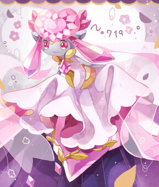 chaloc7 commentary creature diancie flower french_commentary full_body gen_6_pokemon no_humans number pink_eyes pokemon pokemon_(creature) pokemon_number solo