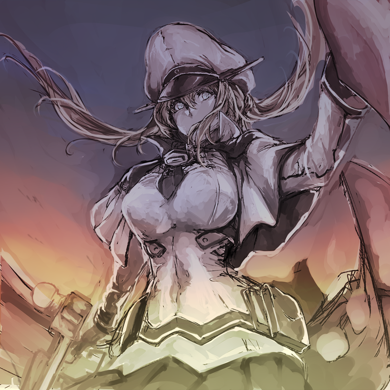1girl bangs breasts capelet gloves graf_zeppelin_(kantai_collection) hair_between_eyes hat iron_cross kantai_collection large_breasts long_hair long_sleeves military military_uniform necktie nona_(goodboy) peaked_cap pouch rigging skirt solo twintails uniform
