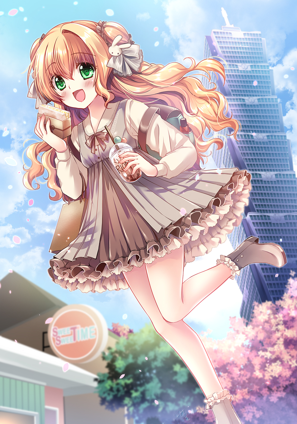 1girl blonde_hair blue_sky boots bow brown_bow brown_footwear brown_skirt bubble_tea building clouds cloudy_sky collared_shirt commentary_request cup day disposable_cup dress drinking_straw food frilled_boots frilled_footwear frilled_skirt frills green_eyes grey_dress high_heel_boots high_heels highres holding holding_cup holding_food long_hair long_sleeves original outdoors petals pleated_skirt sakurano_tsuyu sandwich shirt sign single_hair_intake skirt sky skyscraper sleeveless sleeveless_dress solo standing standing_on_one_leg striped striped_bow tree very_long_hair wavy_hair white_shirt