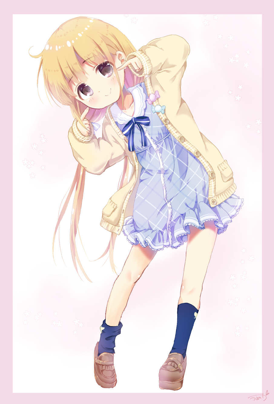 1girl ahoge bangs beige_cardigan blonde_hair blue_bow blue_dress blue_legwear blush border bow brown_eyes brown_footwear buttons candy cardigan closed_mouth collarbone collared_dress dot_nose dress eyebrows_visible_through_hair food frilled_dress frills full_body futaba_anzu hair_bow highres idolmaster idolmaster_cinderella_girls idolmaster_cinderella_girls_starlight_stage kneehighs leaning_to_the_side loafers long_hair looking_at_viewer low_twintails mearian pointing pointing_at_self shoes sidelocks signature sleeves_past_wrists smile solo standing striped striped_bow twintails white_background