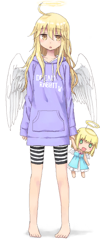 1girl :o ahoge angel angel_wings arms_at_sides bangs barefoot bike_shorts blonde_hair casual character_doll clothes_writing collarbone dot_nose drawstring expressionless eyebrows_visible_through_hair eyes_visible_through_hair feathered_wings feathers full_body hair_between_eyes halo holding hood hood_down hoodie legs_apart long_hair looking_at_viewer open_mouth original pigeon-toed pocket purple_hoodie shorts solo standing striped striped_bike_shorts toes wavy_hair wings yellow_eyes yuyuzuki_(yume_usagi)