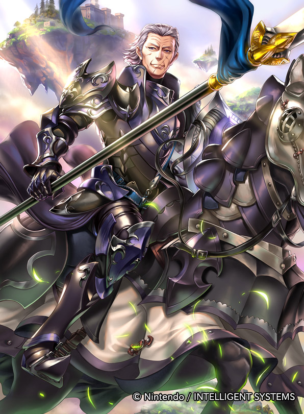 1boy armor armored_boots boots clouds fire_emblem fire_emblem_cipher fire_emblem_fates gloves gunter_(fire_emblem) leaf polearm purple_hair scar shield sky solo spear taneda_kazuhiro tree violet_eyes weapon