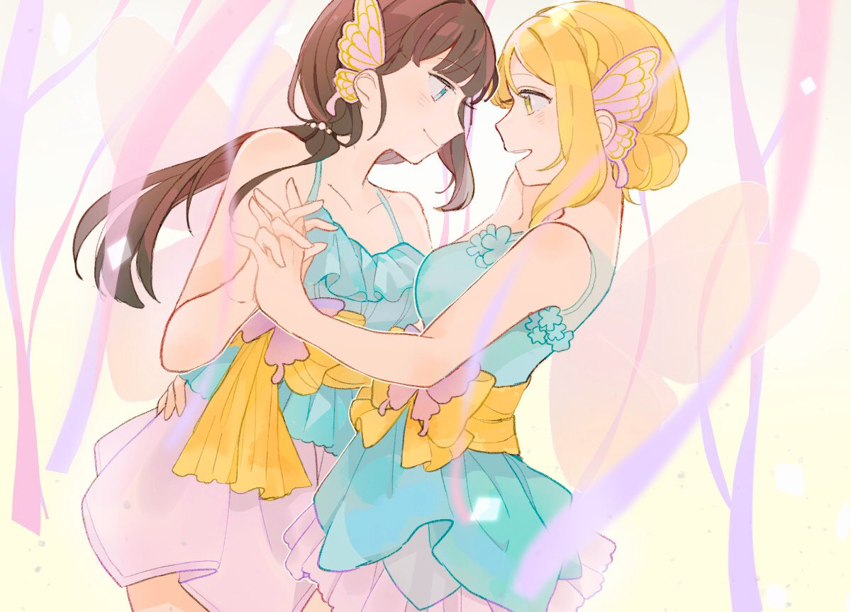 2girls aqua_dress aqua_eyes bangs bare_arms black_hair blonde_hair breasts butterfly_hair_ornament collarbone dancing dress ears fairy_wings hair_ornament hand_on_another's_face hand_on_hip holding_hands kurosawa_dia looking_at_another love_live! love_live!_school_idol_festival love_live!_sunshine!! multiple_girls ohara_mari ribbon syaorin6yue wings yellow_eyes yellow_ribbon